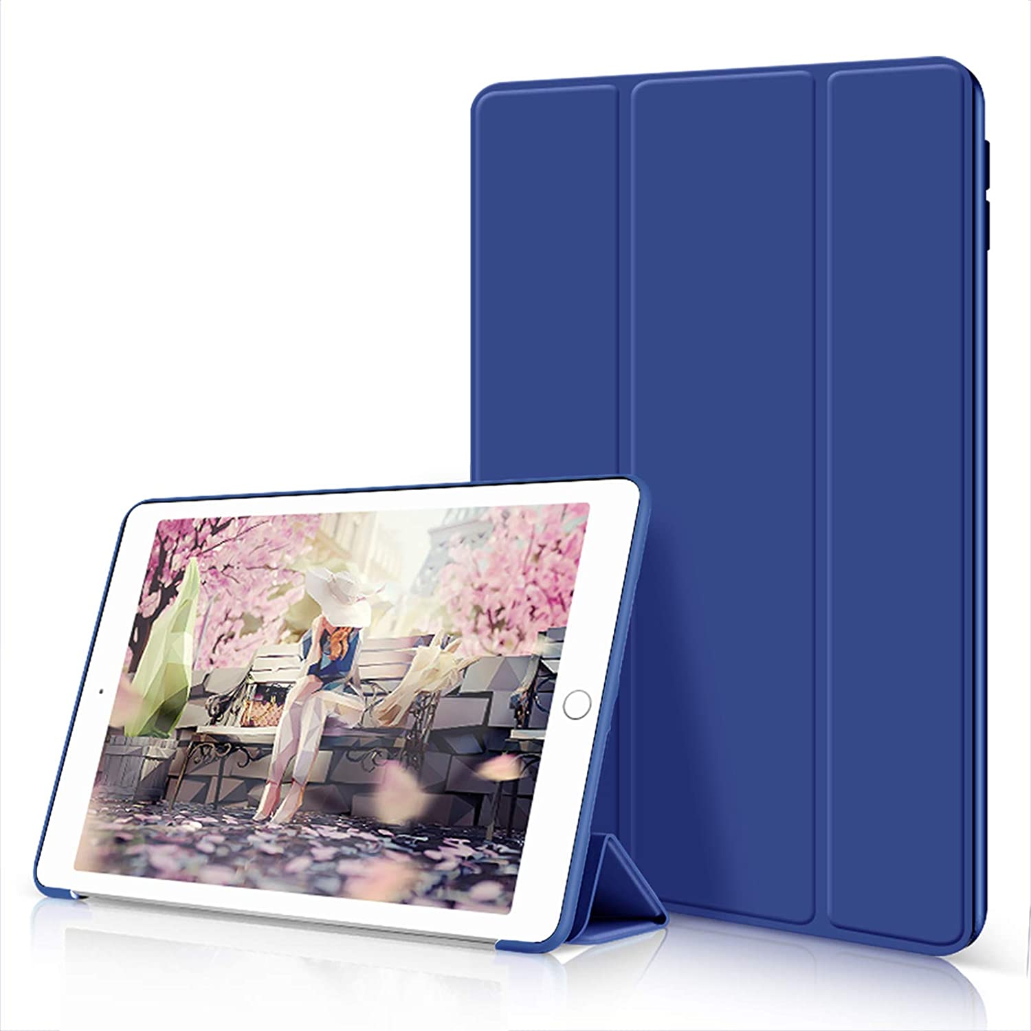 Aoub Case for iPad 6th/5th Generation 2018/2017 9.7 inch, Trifold Stand Ultra Leightweight Soft TPU Smart Cover with Auto Wake/Sleep for Apple iPad Model A1893/A1954, A1822/A1823, Navy
