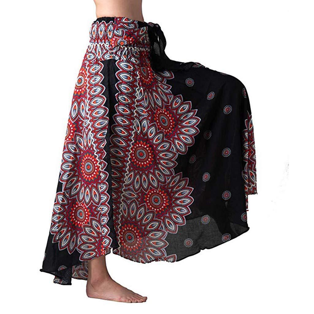 UCQueen Women's Dress Bohemian Style Elastic Waist Band Long Maxi Skirt High Waist Skirt Casual/Elegant Dress/Bottoms Blue by UCQueen