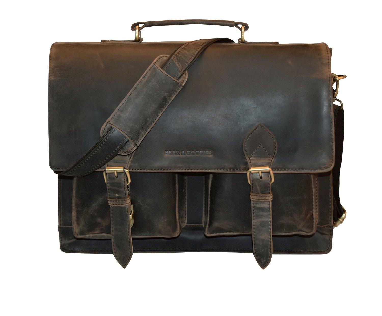 BEAR & GOODIES Norfolk, Aktentasche aus echtem Büffel-Leder im Vintage Look, Umhängetasche Laptoptasche Bürotasche 16 Zoll (braun)
