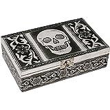 HAB & GUT (BOX011V) Schmuckbox aus Aluminium, TOTENKOPF, 20 x 12 x 6 cm