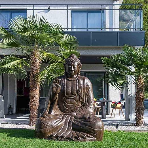 wanda collection Estatua Grande 2 m Buda Sentado de Fibra de Vidrio posición ofrenda: Amazon.es: Jardín