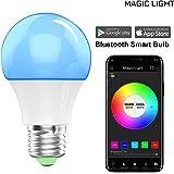 MagicLight Bluetooth Smart Light Bulb - Dimmable Multicolored Disco Light - Wake Up LED Lights & Sleeping Night Light - Smartphone Controlled Xmas Seasonal Celebration Lighting