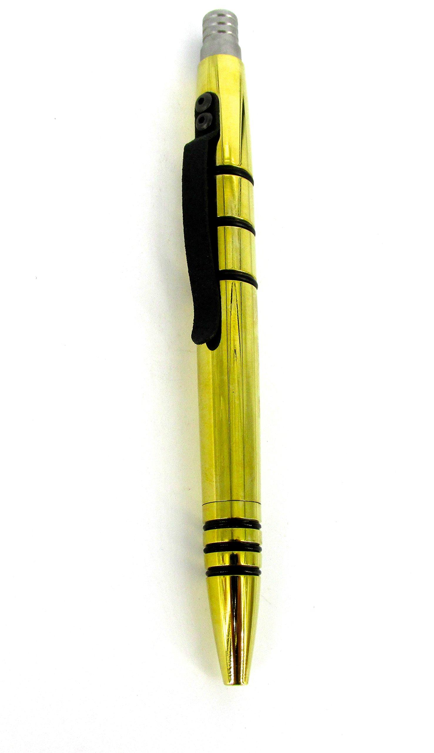 Tuff-Writer Mini Click Series Tactical Pen Polished Brass