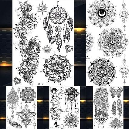 Yangll Atrapasueños Indio Grande Sol Flor Henna Tatuaje Temporal ...