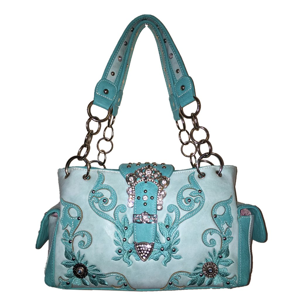 Texas West Premium Rhinestone Buckle Embroidery Flora Handbag Purse in Multi colors (Turquoise)