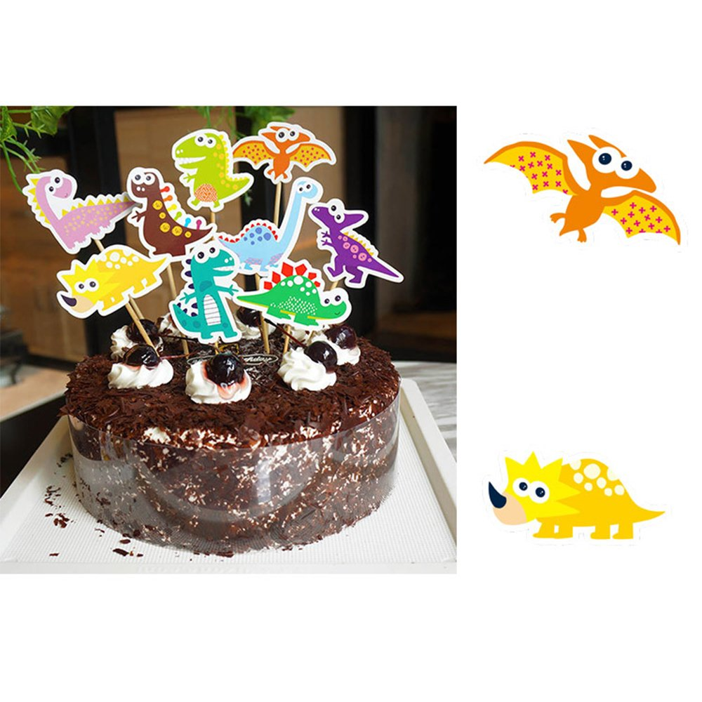MZCH Dinosaur CupCake Topper Cake Toppers for Baby Shower Kid Birthday Party Cake Decorating Supplies, 27 Pack