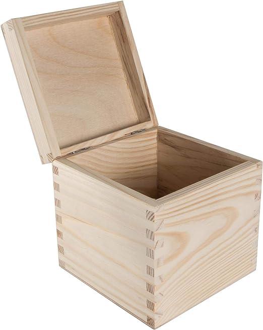WooDeeDoo - Cajas cuadradas de Pino, Madera, Natural, 13 x 13 x ...