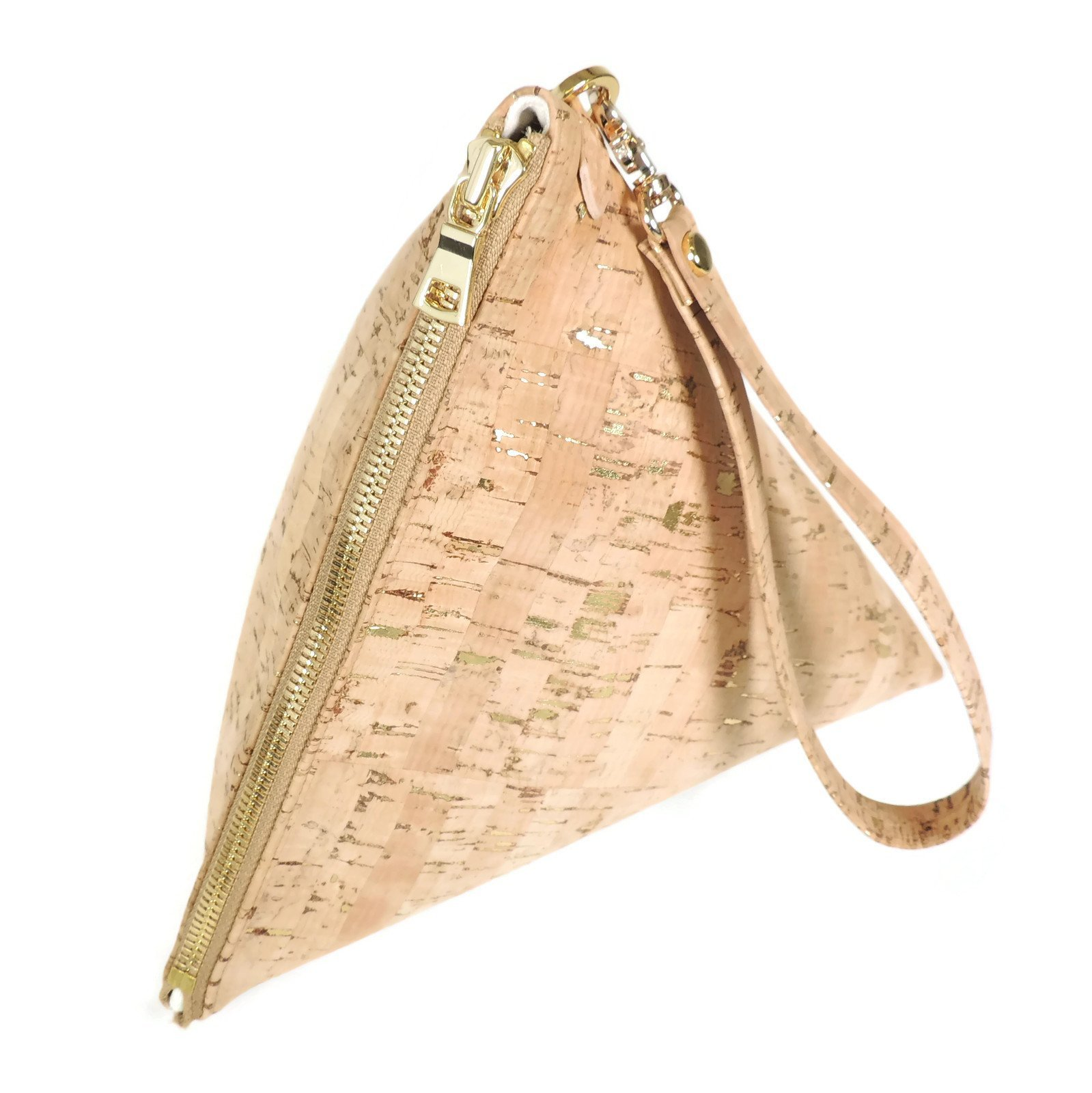 Large Vegan Triangle Clutch Purse in Cork with Gold Flecks by SPICER BAGS