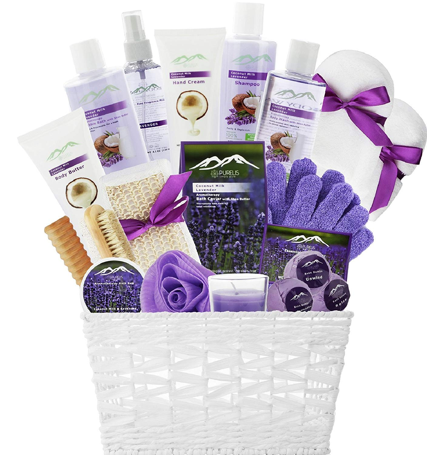 Spa Gift Baskets Beauty Gift Basket - Spa Basket, Spa Kit Bed and Bath Body Works Gift Baskets for Women! Bath Gift Set Bubble Bath Basket Body Lotion Gift Set for Holidays (Lavender Coconut Milk) by Purelis