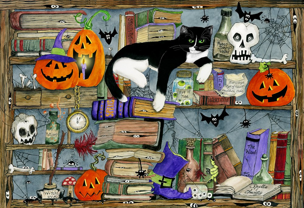 Vermont Christmas Company Halloween House Cat Kid's Jigsaw Puzzle 100 Piece