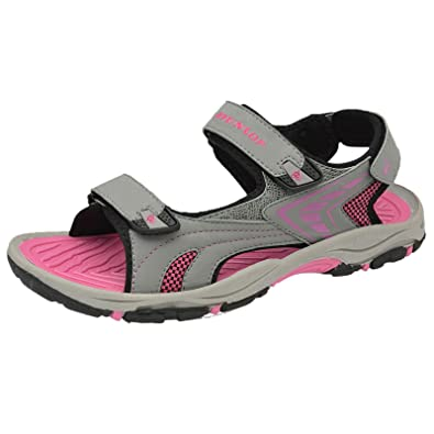 Womens Dunlop Flat Open Toe Velcro Sports Trekking Walking Sandals GK_6964