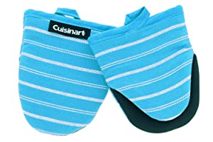 Cuisinart Neoprene Mini Oven Mitts,2pk-Heat Resistant Oven Gloves Protect Hands and Surfaces with Non-Slip Grip and Hanging Loop-Ideal Set for Handling Hot Cookware, Bakeware-Twill Stripe Blue Curacao
