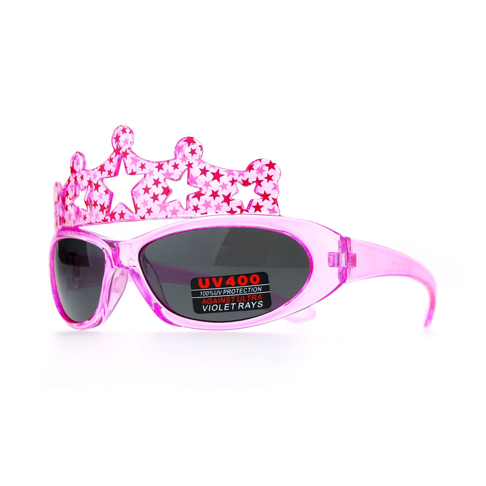 SA106 Kids Girls Tiara Cute Princess Warp Oval Plastic Sunglasses Pink