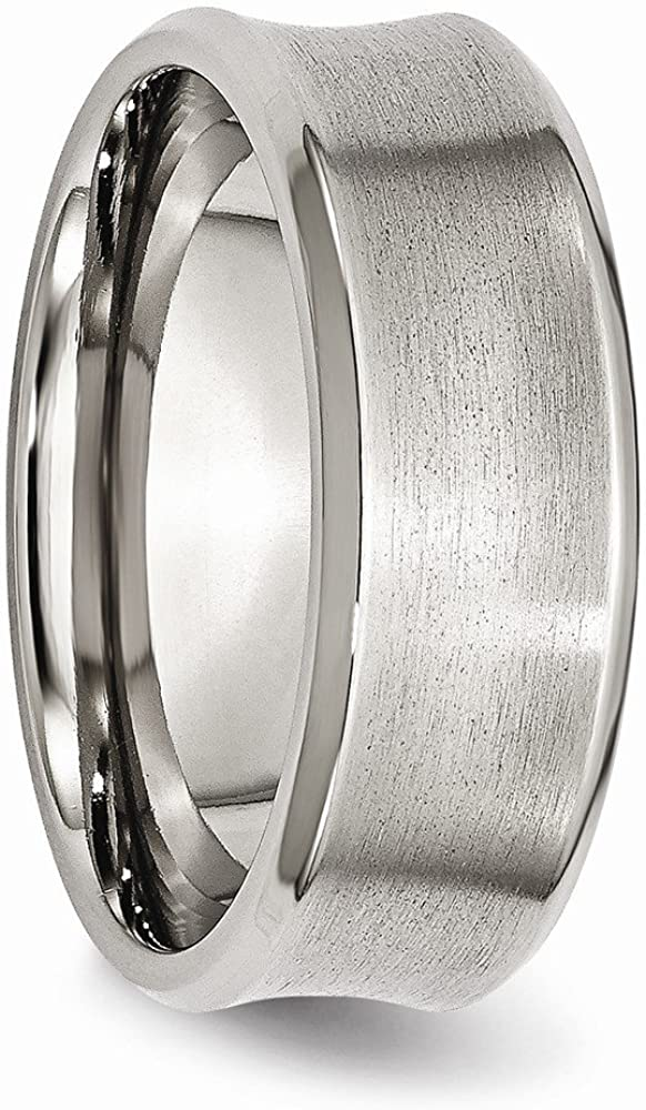 Stainless Steel Beveled Edge Concave 8mm Brushed Wedding Band