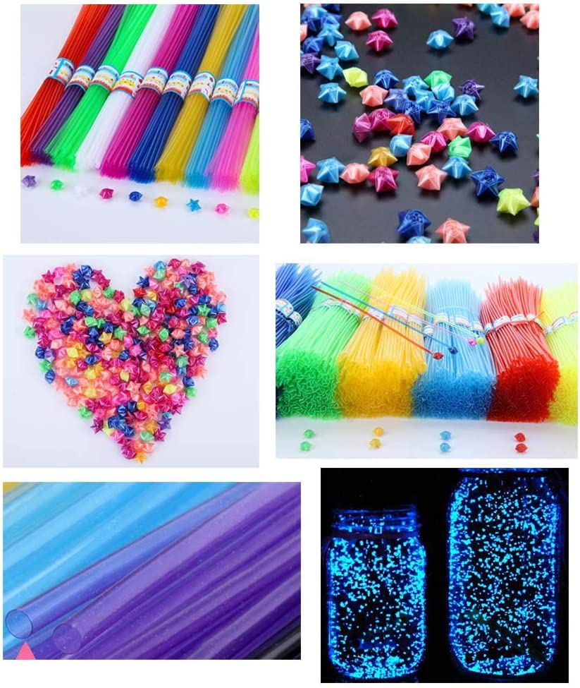 730 Pcs Lucky Star Origami Plastic Tube DIY Making Material Multicolor