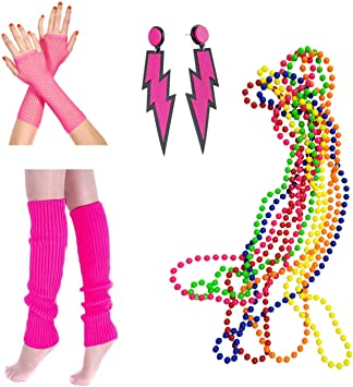 Neon Hot Pink Long Fish Net Fingerless Gloves 80s Party Goth Hen Fancy Dress New