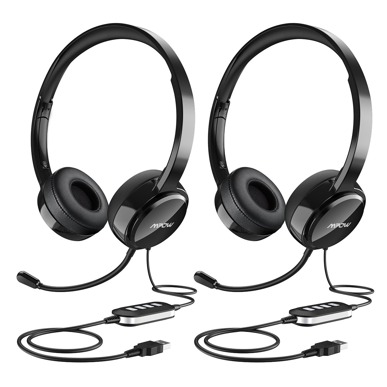 Mpow (2-Pack) USB Headset/ 3.5mm Computer Headset with Microphone Noise Cancelling, Lightweight PC Headset Wired Headphones, Business Headset for Skype, Webinar, Phone, Call Center
