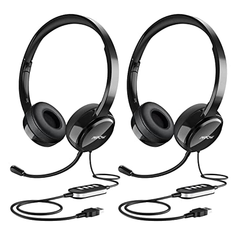 6209283f59e Mpow (2-Pack) USB Headset/ 3.5mm Computer Headset with Microphone Noise