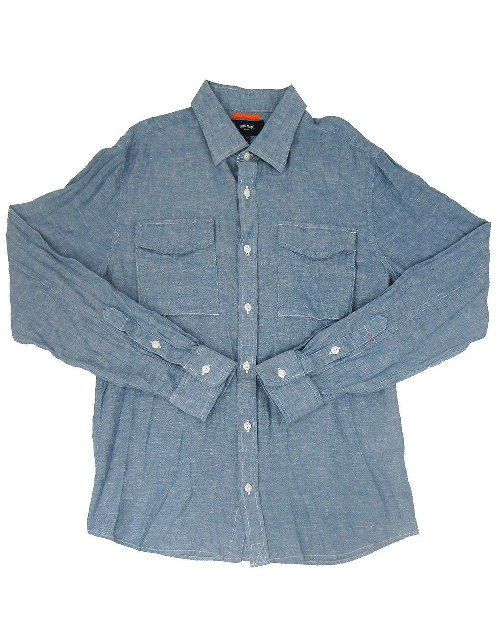 Jack Spade Men's Linen Blend Chambray Shirt (Blue, XX-Large)