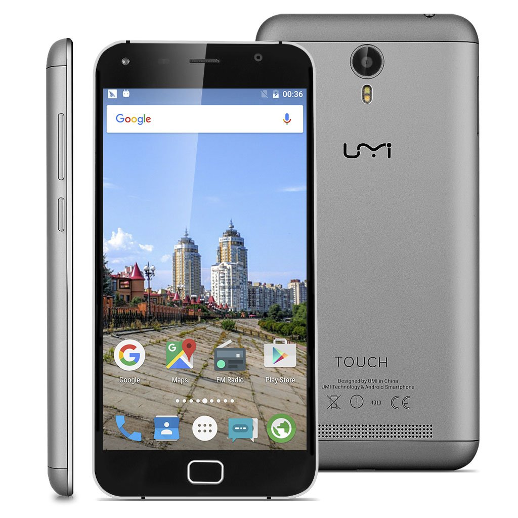 "Umi Touch - 4G LTE Smartphone Libre Multitáctil Android 6.0 (Pantalla HD 5.5"", 1.5GHz Octa Core, 3GB RAM 16GB ROM, 13.0MP Cámara, GPS, WIFI, Touch ID, Dual SIM) (Gris)"