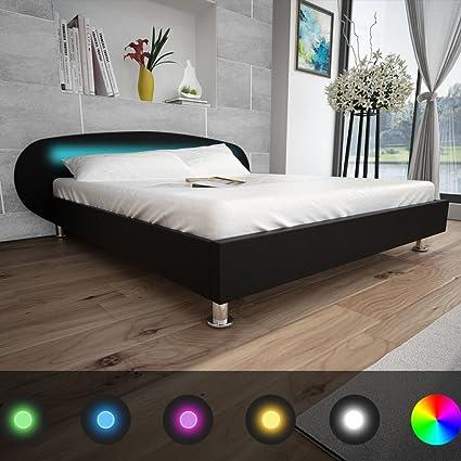 vidaXL Bett LED Kunstleder Doppelbett Polsterbett Bettgestell mehrere Auswahl