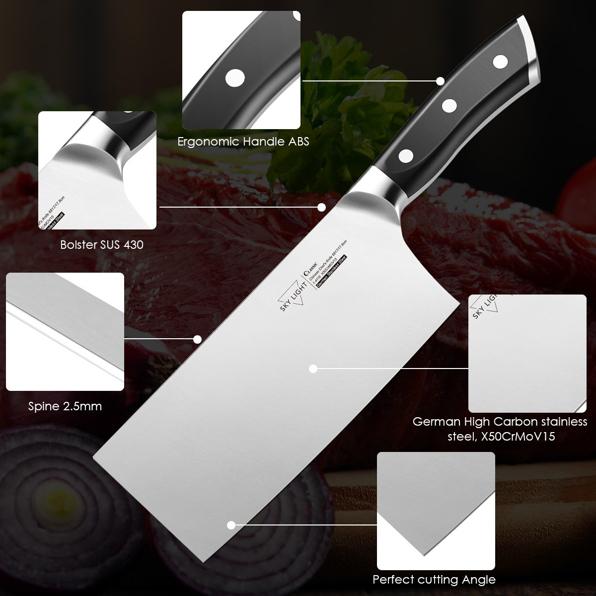 7'' Cleaver,Chinese Butcher Knife GermanHighCarbonStainlessSteel Kitchen Knife withErgonomicHandleforKitchenandRestaurant by SKY LIGHT (Image #2)