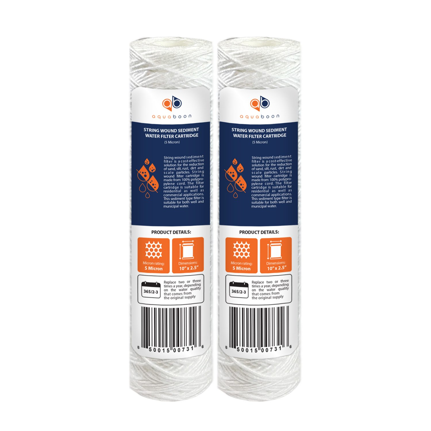 AP110 WFPFC4002 Compatible with WP-5 P5 CW-MF WP-5 Aquaboon 5 Micron 10 x 2.5 String Wound Sediment Water Filter Cartridge CFS110 Universal Replacement for Any 10 inch RO Unit 6-Pack