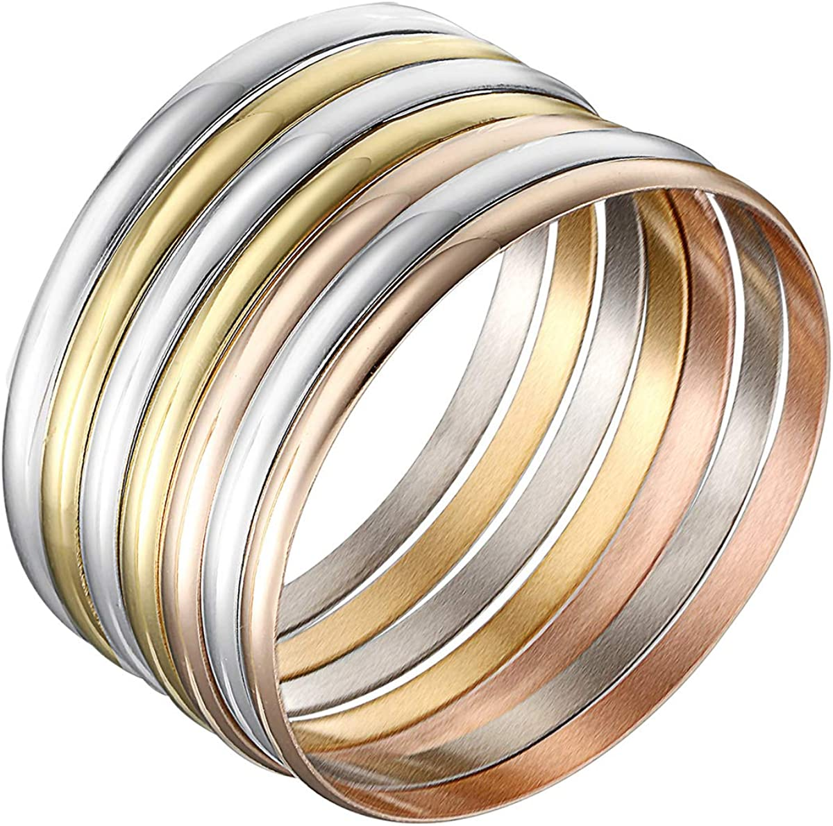 Castillna Set of 7 Tri-Color Silver/Gold/Rose Gold Stainless Steel Bangle Bracelet