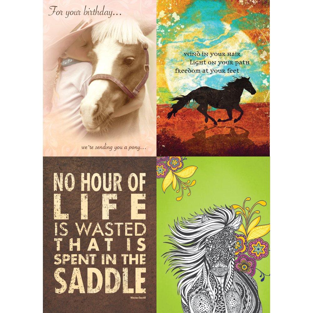 Tree-Free Greetings Horse Love バースデーカード詰め合わせ 5 x 7インチ カードと封筒8枚セット GA31594 B01M25WH6N