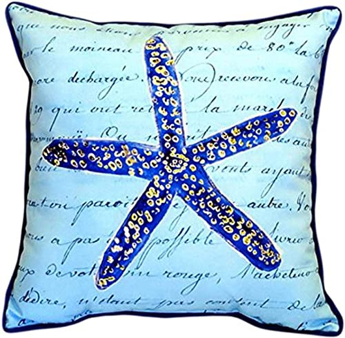 Betsy Drake Blue Starfish Indoor Outdoor Pillow, 18 x 18