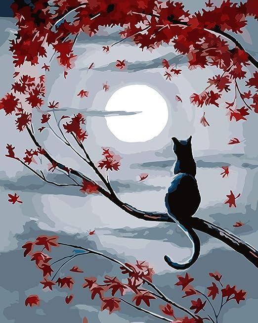 HouseArt Peinture par numéros avec cadre en bois, le chat au clair de lune  40,6 x 50,8 cm: Amazon.ca: Maison et Cuisine