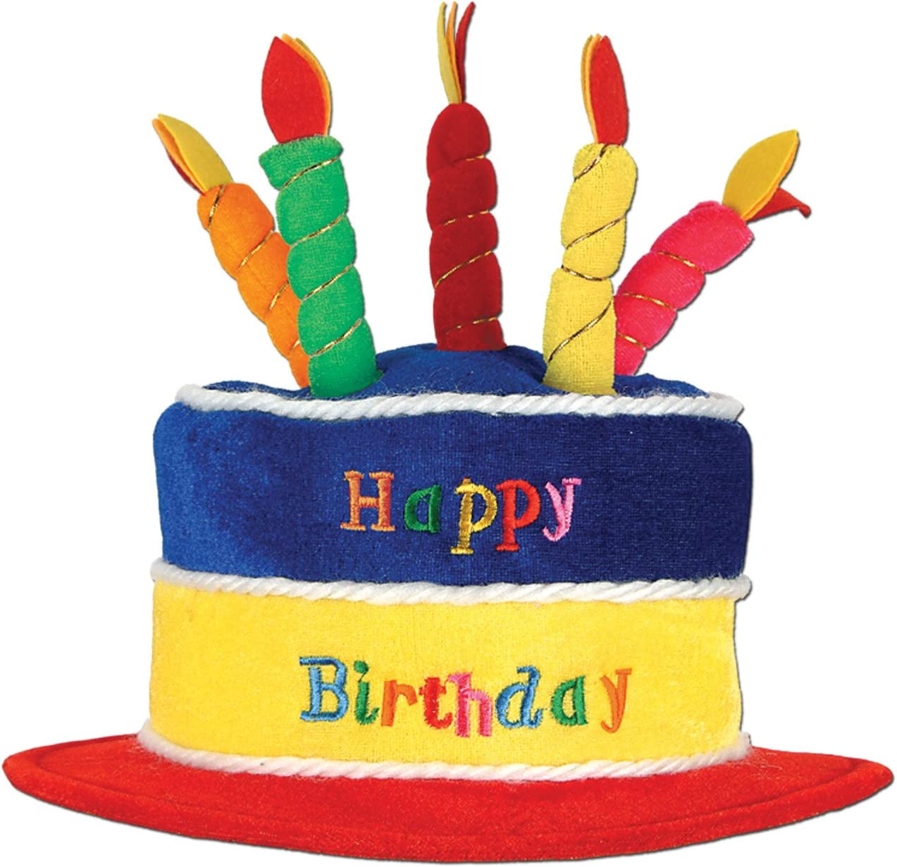 Wondrous Amazon Com Beistle 60717 Plush Birthday Cake Hat Kitchen Dining Funny Birthday Cards Online Aboleapandamsfinfo