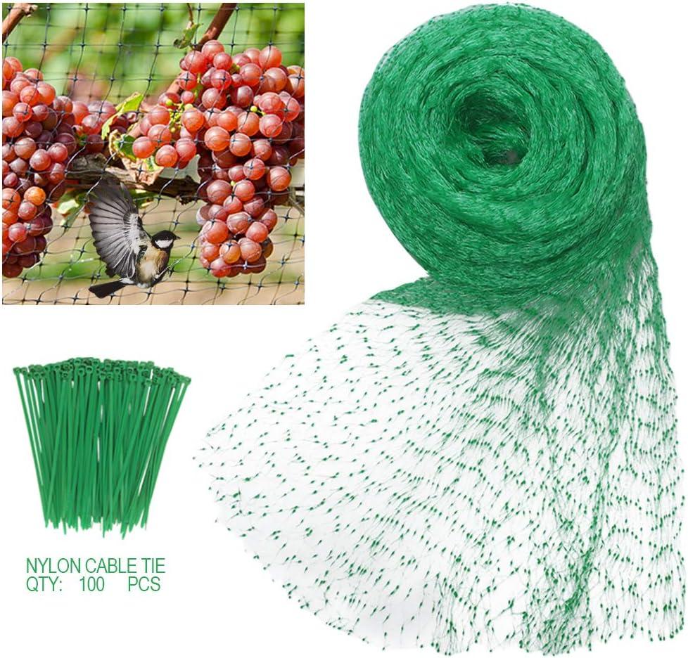 Heqishun Red para Pájaros 4 x 10 m Malla Antipájaros Redes Antipájaros para Huerto, Jardín y Estanque y con 100 Piezas de Cables Ataduras de Nylón (Verde, 1,5 x 1,5 cm Agujeros)