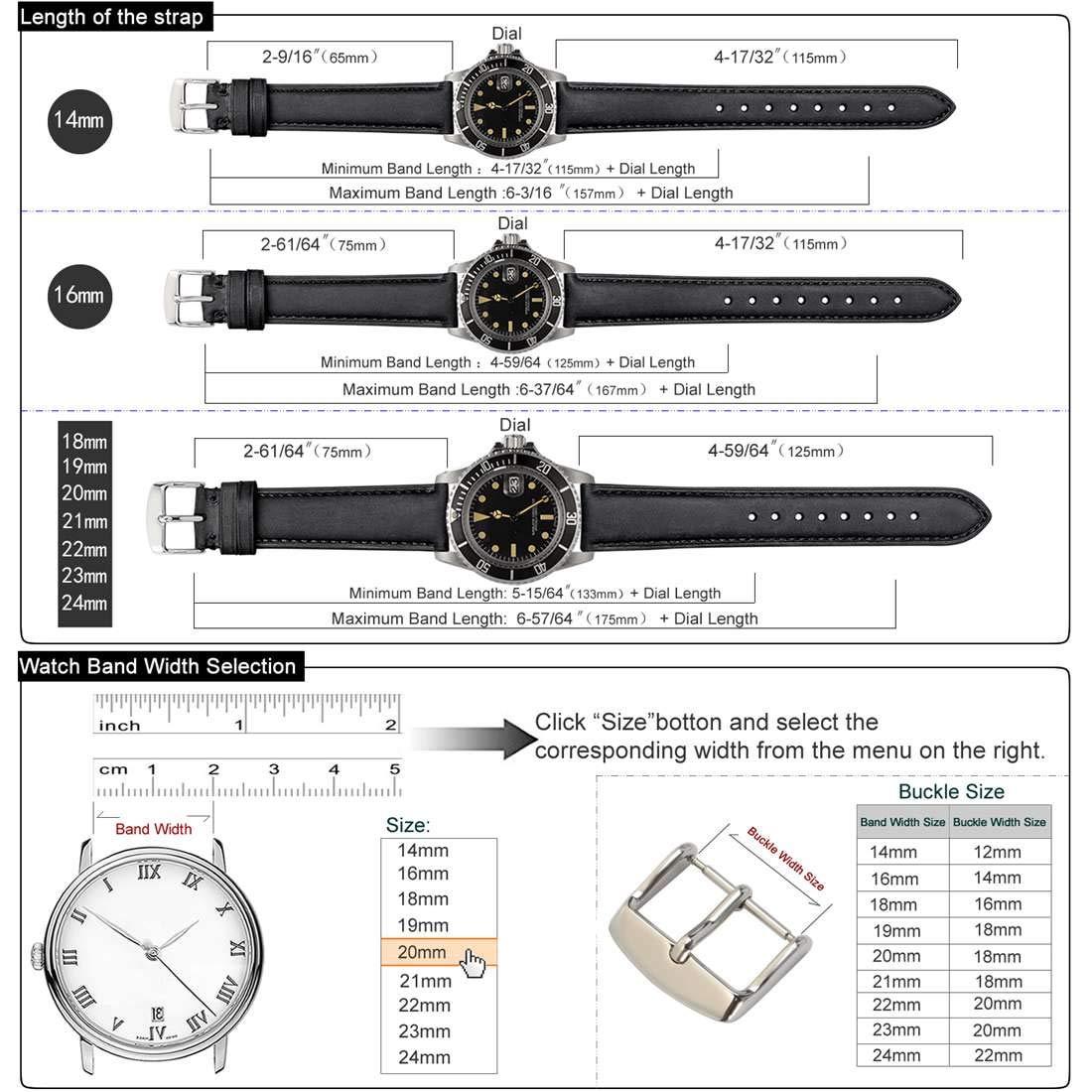 Amazon.com: WOCCI - Correa de reloj de piel vintage, 0.551 ...