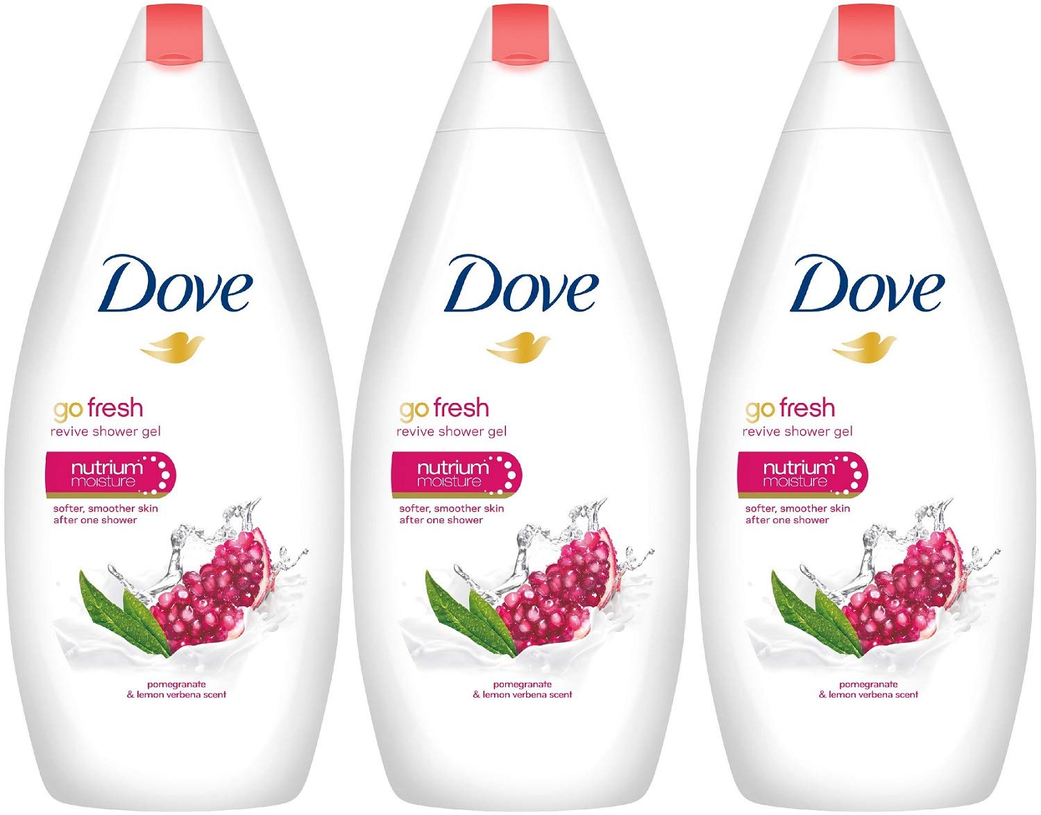 Dove Go Fresh Revive Body Wash, Pomegranate 500 ML (16.9 oz) Pack of 3