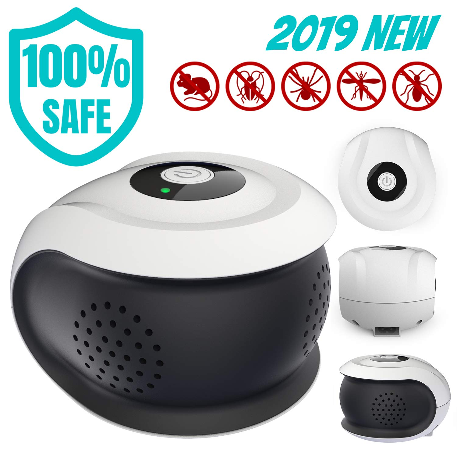CQOO Ultrasonic Pest Repeller PRO- Three Speakers,Professional and New Upgrade Electronic Pest Control Plug in,Pest Control for Mouse, Roach, Spider, Ants and More.Non-Toxic, Humans & Pest Safe. by CQOO