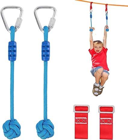 Odoland 50ft Slackline Ninja line Monkey Bar Kit for Obstacle Course Setting Slackline Kit with Arm Trainer Line Instruction Booklet Tree Protectors Carry Bag and Work Gloves for Backya