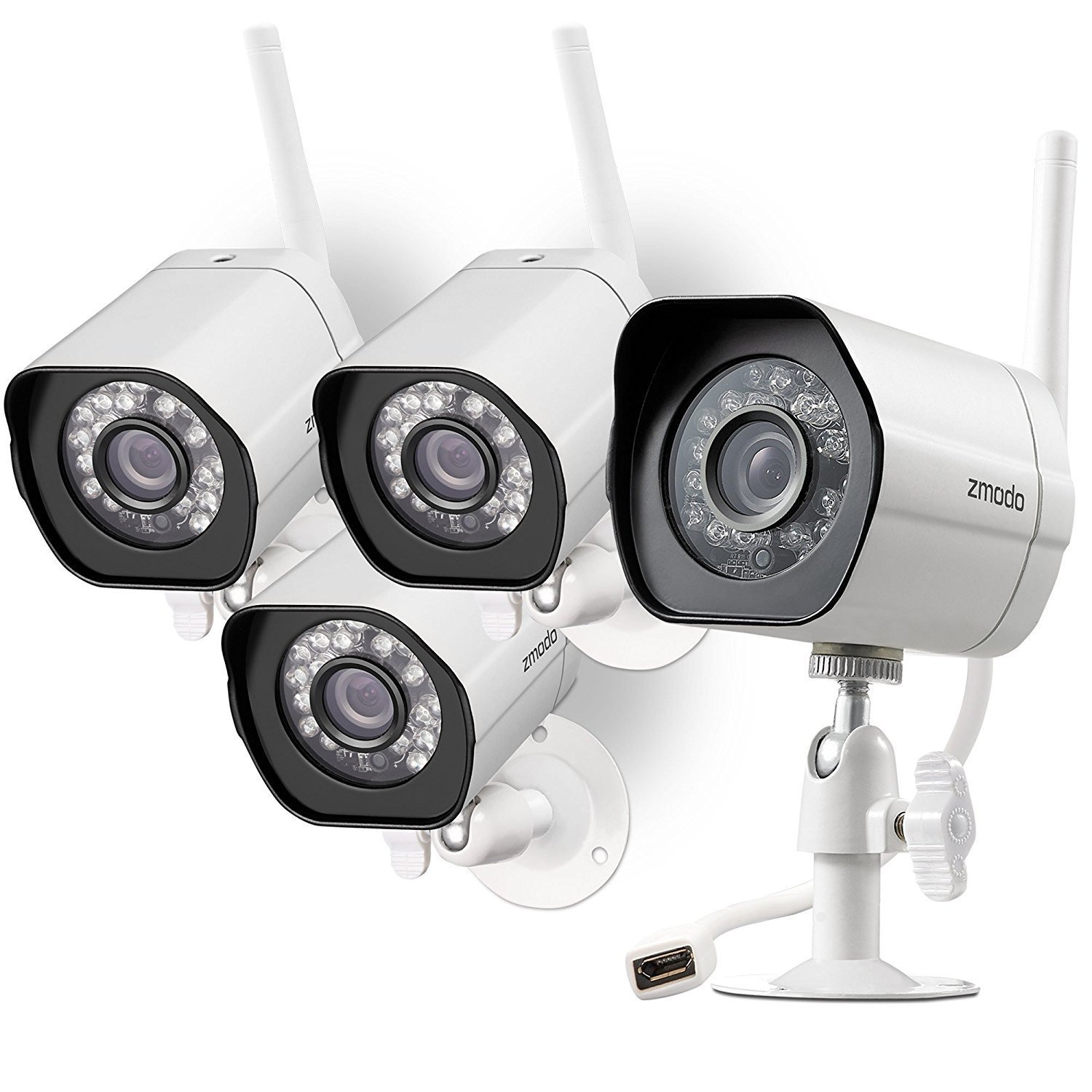 Zmodo Wireless Security セキュリティ Camera カメラ System (4 pack) Smart HD Outdoor アウトドア WiFi IP Cameras with Night Vision 夜間視力 (並行輸入品) B07BV2FKTP  One Color One Size