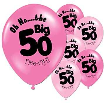 Fuschia Baby Pink 50th Birthday Party 11quot Pearlized Latex Printed Balloons