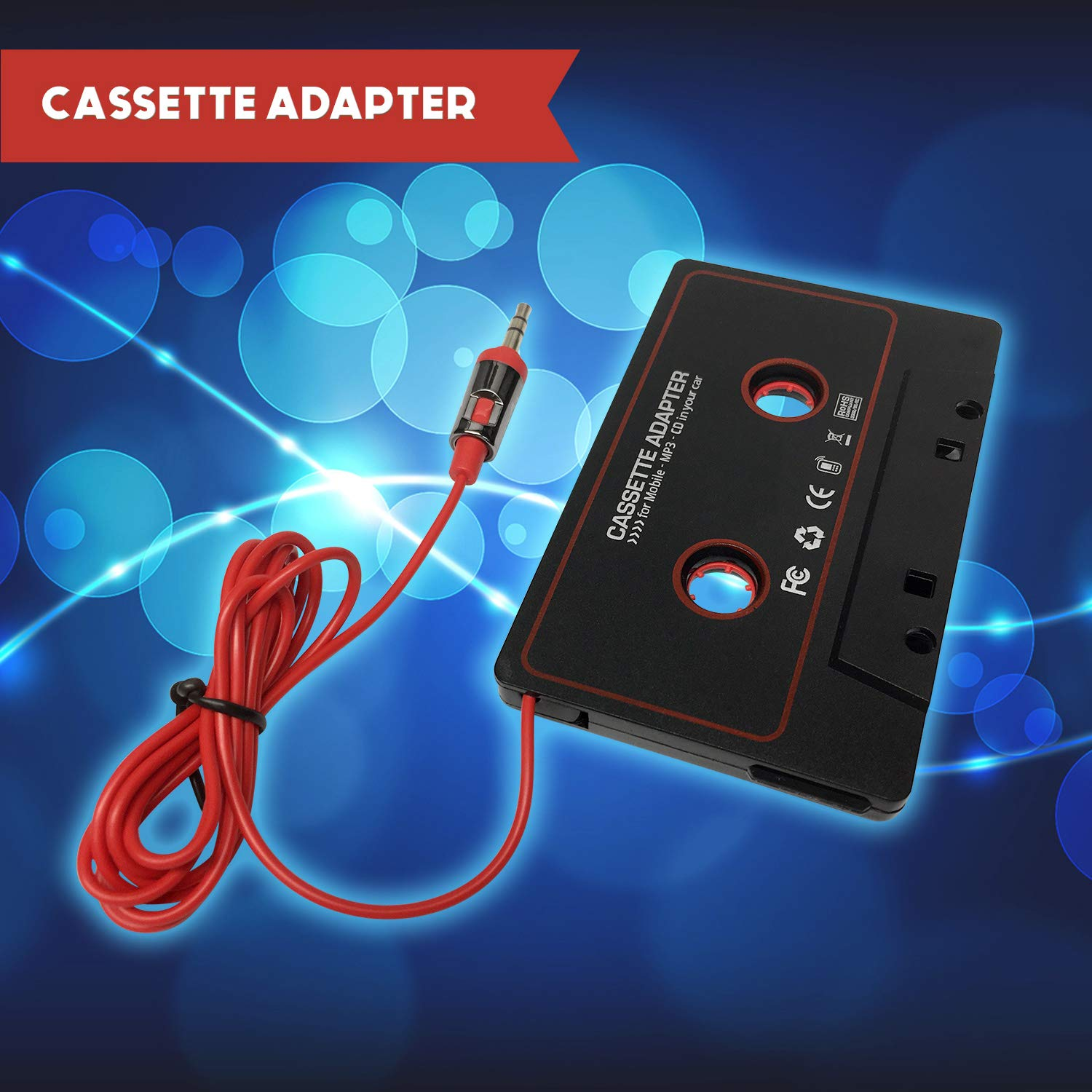 Cerepros Cassette Adapter Audio Stereo 3.5mm Aux Cable Cord to Car Vehicle Radio Deck