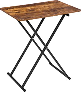 HOOBRO TV Tray, 3 Adjustable Heights TV Table, 23.6L x 15.7W inch Folding Snack Table, Portable Laptop Table, Extra Large Tray Table on Bed Sofa in Living Room, Bedroom, Rustic Brown BF16BZ01