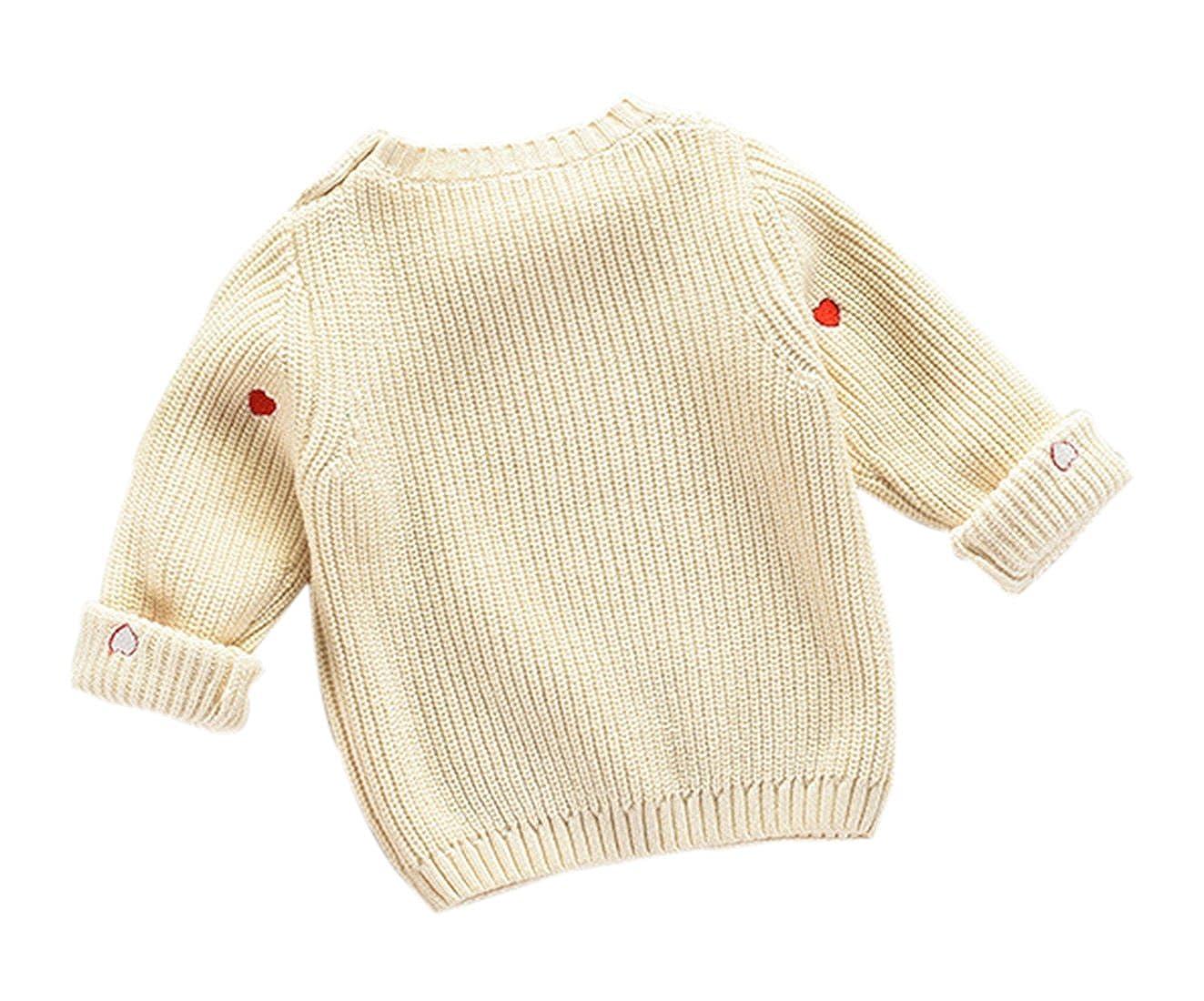 2T-7T Congcong Little Boys /& Girls Long Sleeve Pullover Heart Print Sweater