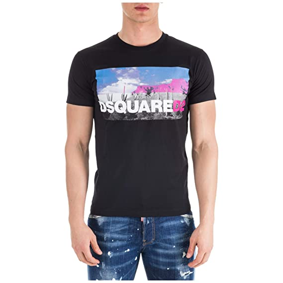 cf81beed DSquared Dan-Fit Desert Cotton T-Shirt Black: Amazon.co.uk: Clothing