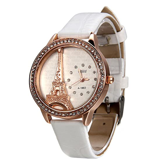 81d7ab409716 Blanco Reloj para Mujer La Torre Eiffel con Diamantes Reloj de Pulsera para  Chica