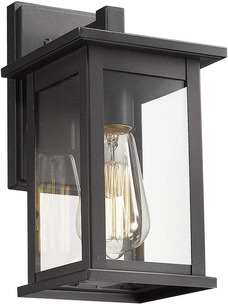 Bestshared Outdoor Wall Scone, Outdoor Wall Mounted Light Indoor Single Light Exterior Wall Lantern with Clear Glass (Black, 1 Pack)