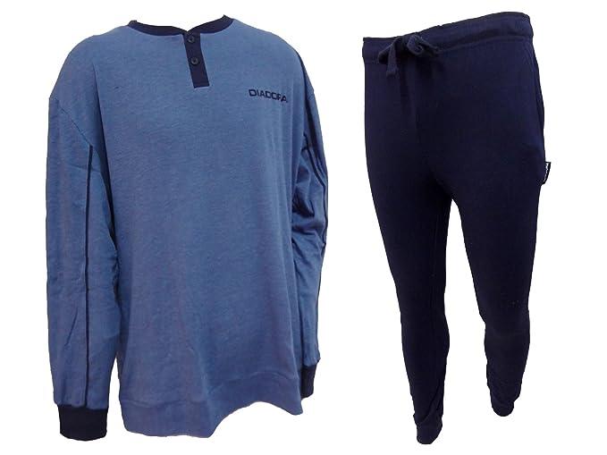 9f681c792a3a pigiama uomo lungo serafino caldo cotone interlock calibrato taglie forti DIADORA  art. 60980 (56