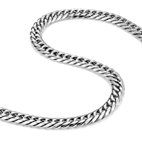 Men's Stainless Steel Chain Necklace Ultra Thick and Wide (Silver,13.5 mm width)