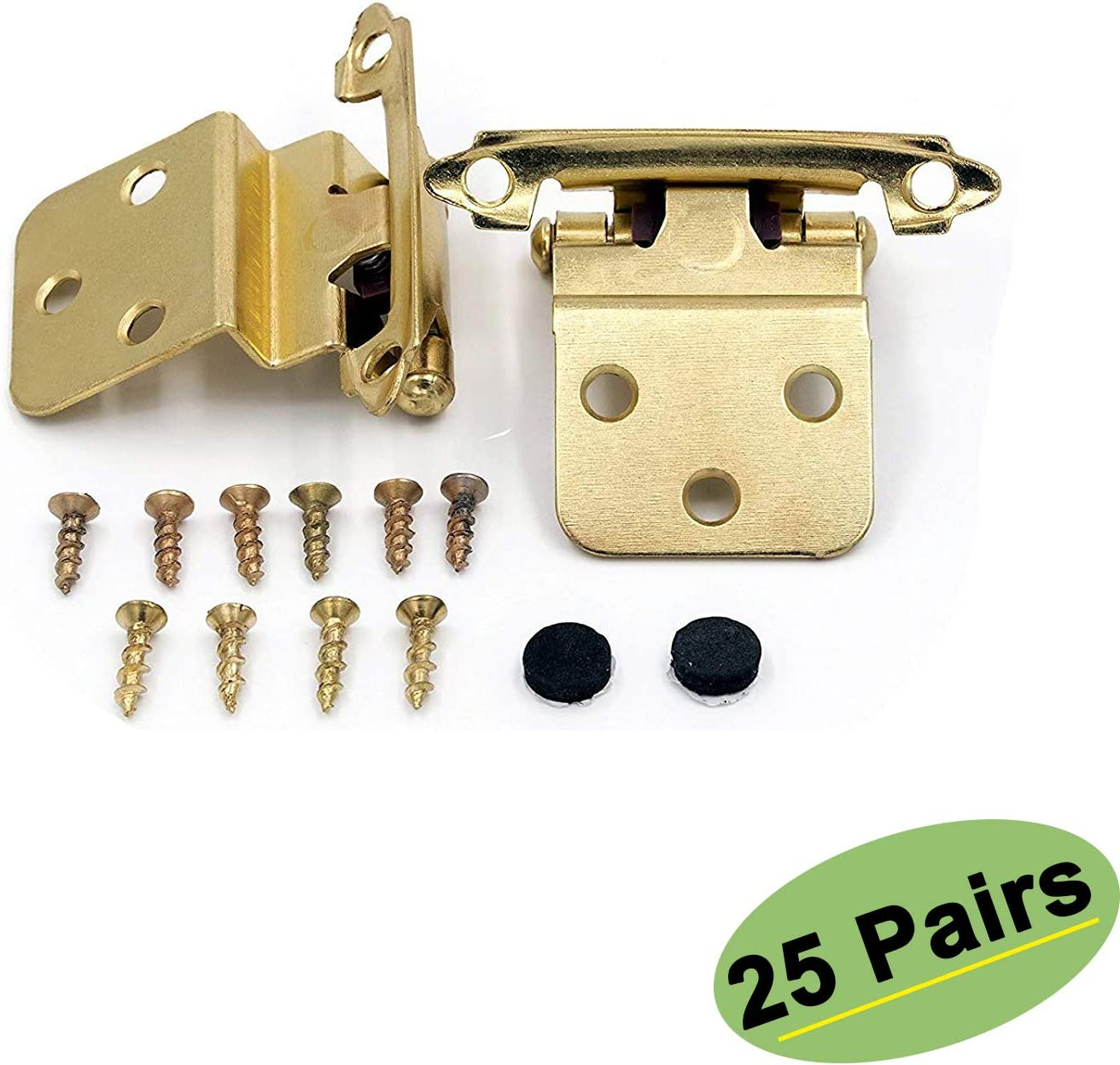 Inset Cabinet Hinges Self-Closing 25 Pairs(50Pack) - homdiy SCH38BB 3/8inch Gold Hinges for Cabinets Brushed Brass Inset Hinges Furniture Harware