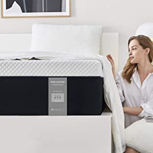 Twin Size Mattress, 8 Inch Iyee Nature Cooling-Gel Memory Foam Mattress Bed in a Box, Supportive & Pressure Relief with Breathable Soft Fabric Cover, Medium Firm Feel,Black