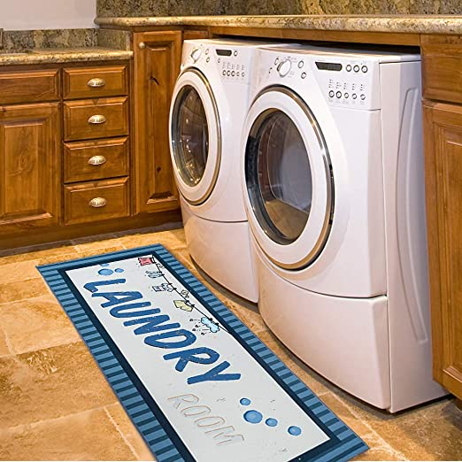 Amazon Com Carvapet Laundry Room Decorative Printed Runner Rug Blue 20x59 Inch Kitchen Dining